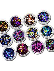 1set 12bottles Nail Art Decoración Las perlas de diamantes de imitación maquillaje cosmético Nail Art