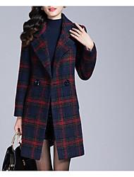 Manteau Femme,Pied-de-poule Décontracté / Quotidien simple Manches Longues Rouge / Vert Polyester Moyen Hiver
