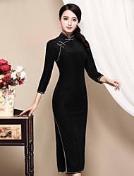 Mujer Vaina Vestido Casual/Diario Tejido Oriental,A Cuadros Escote Chino Midi 3/4 Manga Negro Poliéster Otoño Tiro Medio Microelástico