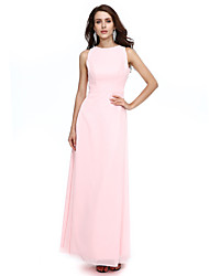 A-Fu Formal Evening Dress - Open Back Sheath / Column Jewel Floor-length Chiffon with Sash / Ribbon