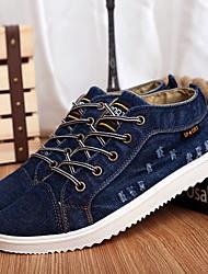 Herren-Sneaker-Lässig-Denim Jeans-Flacher Absatz-Komfort-Schwarz Blau
