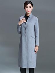 Damen Solide Einfach Lässig/Alltäglich Mantel,Herbst / Winter V-Ausschnitt Langarm Rot / Grau Mittel Polyester