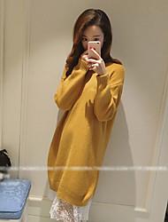 Damen Standard Pullover-Lässig/Alltäglich Einfach Solide Grau Gelb Lila Rundhalsausschnitt Langarm Andere Frühling Herbst Mittel