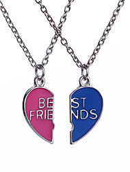 Men's Women's Jewelry Set Pendants Necklace Friendship Bracelets Lockets Necklaces Jewelry Alloy Logo Style Love Heart Friendship Punk
