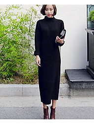 Women's Casual/Daily Simple Sweater Dress,Solid Round Neck Midi Long Sleeve White / Black Cotton Fall Mid Rise Stretchy Medium