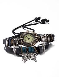 Unissex Relógio de Moda / Bracele Relógio / Relógio de Pulso Quartz Impermeável Couro Banda Vintage / Bracelete Preta marca