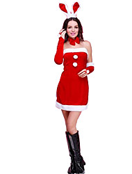 Christmas Costume/Holiday Halloween Costumes Red Solid Dress / Sleeves / More Accessories / Headwear Christmas Female Polyester