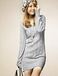 Women's Fashional V Neck Long Sleeve Slim Knitwear Dress