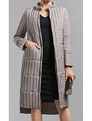 Women's Regular Down Coat,Simple Going out Solid-Polyester White Duck Down Long Sleeve Round Neck Black / Gray