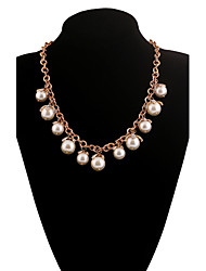 Brand New Arrival Women's Exquisite Trendy Gold Chain Imitation Pearl Pedant Choker Necklace NL161138