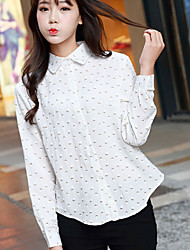 Women's Casual/Daily Simple Fall Shirt,Polka Dot Shirt Collar Long Sleeve Pink / White / Yellow Cotton Medium