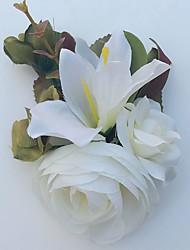 Bouquets de Noiva Lírios Peônias Alfinetes de Lapela Casamento Festa / noite Cetim