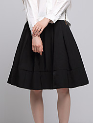 Women's Swing Solid Skirts,Casual/Daily / Work / Beach Simple / Cute Mid Rise Midi Zipper Cotton / Acrylic Inelastic Spring / Fall