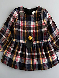 Girl's Casual/Daily Plaid Dress,Polyester Winter / Fall Long Sleeve