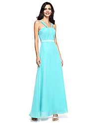 Lanting Bride® Floor-length Chiffon Bridesmaid Dress - Open Back Sheath / Column Straps with Sash / Ribbon / Pleats