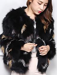 Women's Casual/Daily Simple Fur Coat,Color Block Long Sleeve Black Fox Fur