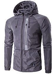 Мужчины На каждый день / Офис / Большие размеры Однотонный / Вышивка Куртка Капюшон,Активный Зима Синий / Белый / Черный / СерыйДлинный