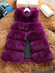 Women's Going out / Casual/Daily Cute Jackets,Solid Round Neck Sleeveless Fall Blue / Black / Purple Faux Fur Medium
