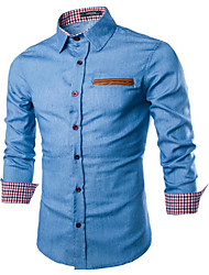 Men's Casual/Daily Simple Shirt,Plaid Square Neck Long Sleeve Blue Cotton