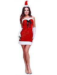 Christmas Costume/Holiday Halloween Costumes Red Solid Dress / Gloves / Headwear Christmas Female Polyester