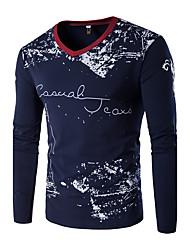 Tee-shirt Hommes,Imprimé / Couleur Pleine Grandes Tailles / Décontracté / Quotidien / Sportif Automne / Hiver Manches Longues Col en V