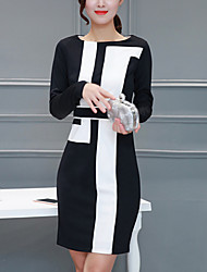 Women's Elegant Slim chic Bodycon DressColor Block / Patchwork Round Neck Above Knee Long Sleeve Black Cotton Spring Mid Rise