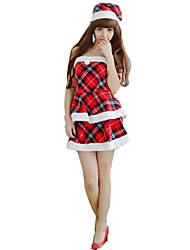 Christmas Costume/Holiday Halloween Costumes Red Plaid Dress / Hats Christmas Female Polyester