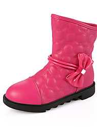 Girl's Boots Fall Comfort Leather Casual Platform Bowknot Black Pink White Fuchsia Other