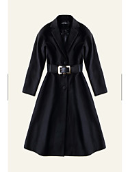 Feminino Casaco Informal / Casual Sofisticado Outono / Inverno,Sólido Azul / Preto Lã Colarinho de Camisa-Manga Longa Média