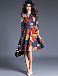 Women's Casual/Daily Street chic Fashio A Line /Sheath Dress Color Block Stand Knee-length Multi-color Deerskin Spring /Fall