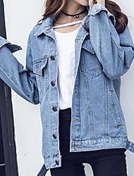 Feminino Jaqueta jeans Casual