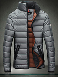 Men's Short Padded Coat,Simple Casual/Daily Solid-Cotton Cotton Long Sleeve Stand Blue / Gray