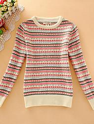 Damen Kurz Pullover-Lässig/Alltäglich Einfach Gestreift Rot Beige Rundhalsausschnitt Langarm Wolle Herbst Mittel Mikro-elastisch