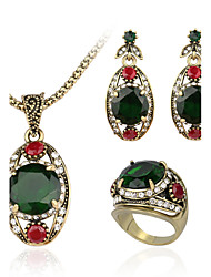Fine 3 Pcs Austrian Crystal Jewelry Sets Ancient Bronze Plated Emerald Green Ring  Necklace  Eearrings For Women