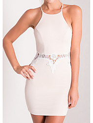 Women's Party Going out Beach Sexy Street chic Sophisticated Bodycon Lace Dress,Solid Halter Knee-length Sleeveless Cotton Spandex Summer