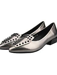 Women's Heels Fall Winter Others Nappa Leather Office & Career Dress Casual Low Heel Rivet Black Silver