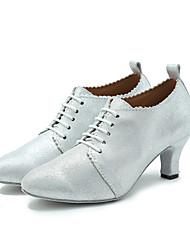 Chaussures de danse(Noir / Argent) -Non Personnalisables-Talon Bottier-Cuir-Latine / Jazz