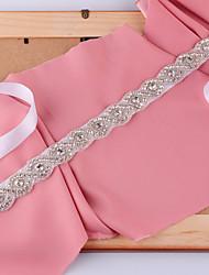 Satin Wedding / Party/ Evening Sash-Beading / Rhinestone / Imitation Pearl Women's 98 ½in(250cm) Beading / Rhinestone / Imitation Pearl