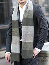 Men Faux Fur Scarf,Casual RectangleColor Block