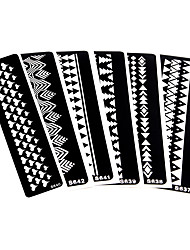 6 Pieces Body Art Paint Tattoo Henna Stencil Stripe Bracelet Design Hollow Henna Paste Drawing Tattoo Template