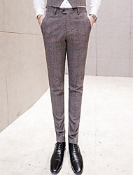 Men's Straight Chinos Pants,Casual/Daily Simple Plaid Mid Rise Zipper / Button Cotton Micro-elastic Spring / Fall
