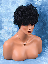 Towheaded Layered Short Capless Wigs Natural Wavy Human Ombre Hair