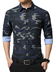Men's Wedding / Work Vintage / Street chic Shirt,Camouflage Shirt Collar Long Sleeve Multi-color Cotton