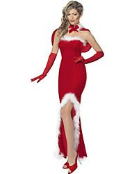 Cosplay Kostuums Kerstmanpakken Film Cosplay Rood Effen Kleding / Shawl Kerstmis Vrouwelijk Polyester