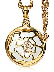 Romantic Rose Slide Cover Library Reading Gold Platinum Plated Pendant Necklace 2X Zoom Magnifier Optical Chain