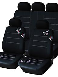 9 Stück Set Autositzbezüge universelle Passform schwarzer Schmetterlings-Entwurf Material Polyester Autozubehör