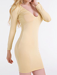 Women's Casual/Daily Sexy / Cute A Line Dress,Solid V Neck Above Knee Long Sleeve Gold Modal / Polyester Fall / Winter Mid Rise