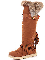 Women's Boots Spring / Fall / Winter Gladiator Fur Party & Evening / Dress / Casual Flat Heel Tassel Black / Brown / Coffee
