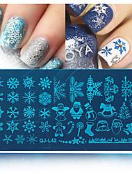 1pcs Schneeflocke Weihnachtsnagelplatte gedruckt