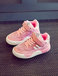 Girl's Athletic Shoes Fall Winter Others Pigskin Outdoor Athletic Flat Heel Magic Tape Black Pink Gray Others